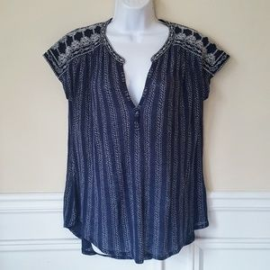 Lucky Brand Embroidered Short Sleeve Top L